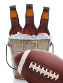 Football and Beer in Bucket — Stock Photo