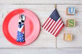 USA Blocks Flag and Plate — Stock Photo
