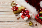 Presents Santa Hat Bells — Stock Photo
