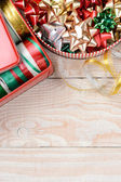 Tins of Ribbons and Bows Vertical — Stock Photo