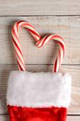 Candy Canes in Christmas Stocking — Stock Photo