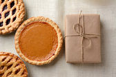 Holiday Pies and Parcel — Stock Photo