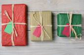 Three Tissue Wrapped Presents — Stock Photo