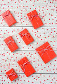 Red Valentines Gifts and Hearts — Stock Photo
