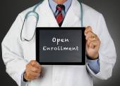 Doctor Tablet Computer Open Enrollment — Stock Photo