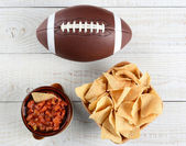 Chips, Salsa and Football — Stock Photo