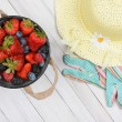 Bucket Berries and Sun Hat — Stock Photo #68767373