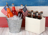 Soda and Beer Patriotic Background — Stock Photo
