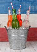 Bucket of Soda with Drinking Straws — Stock Photo