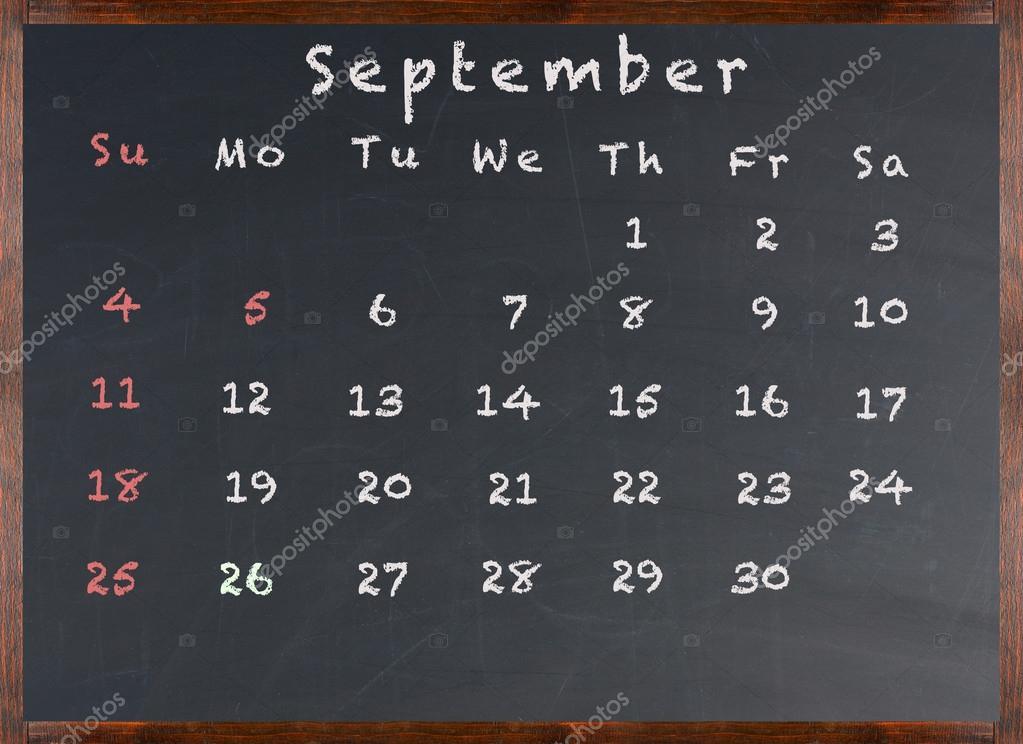 Pizarra calendario de septiembre de 2016 fotos de stock scukrov 73891111 - Pizarra calendario ...