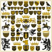 HERALDRY Crests and Symbols — Stock vektor