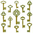 Antique bronze keys with patina decor — Stock Vector #65526839