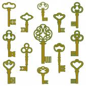 Antique bronze keys with patina decor — Stockvector