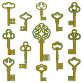 Antique bronze keys with patina decor — Vettoriale Stock