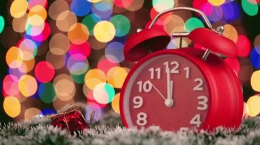 Alarm clock with christmas lights — Stock Video