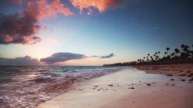 Sunrise over the Exotic Beach in Dominican Republic, Punta Cana — Stock Video