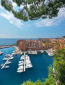 Scenic view on Fontvieille and Monaco Harbor — Stock Photo