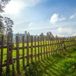 Fence in the green field under blue cloud sky — Stock Photo #74646223