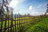 Staket i det gröna fältet under blå moln himlen — Stockfoto