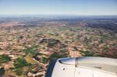 Flygfoto över landskapet från flygplan nära madrid, Spanien — Stockfoto