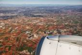 Farmed fields aerial view from airplane near Madrid, Spain — Stock Photo