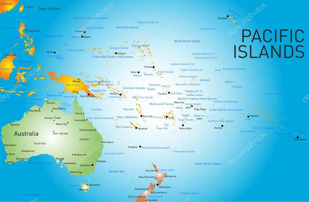 Map Of Pacific Islands And Hawaii