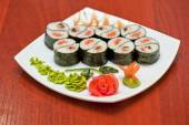 Roll with smoked eel and salmon — Foto de Stock