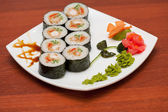 Sushi rolls with crabs meat — Stock Photo