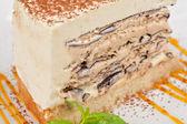 Schokoladenkuchen mit Marmelade Eis — Stockfoto