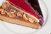 Cheesecake with chocolate and nuts — Stock Photo