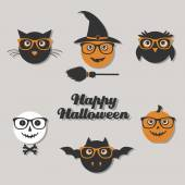 Set of hipster halloween characters — Vector de stock