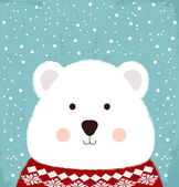 Winter card with cute bear — Stock Vector