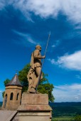 Statue on castle wall in Hohenzollern — Stock Photo