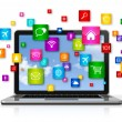 Laptop Computer and flying apps icons — Stock Photo #64977287
