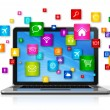 Laptop Computer and flying apps icons — Stock Photo #67089123