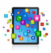Digital Tablet pc and flying apps icons — Foto de Stock