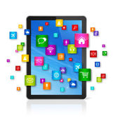 Digital Tablet pc and flying apps icons — ストック写真
