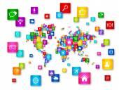 Světová mapa létající ikony na ploše kolekce — Stock fotografie