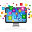 Desktop Computer and flying apps icons — Stock Photo #67954533