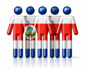 Flag of Costa Rica on stick figure — Stock Photo