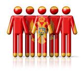 Flag of Montenegro on stick figure — Stock Photo