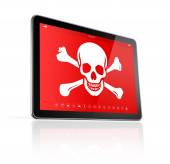 Digital tablet PC with a pirate symbol on screen. Hacking concep — Stock Photo