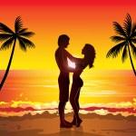 Couple on beach at sunset — Stock Vector #59094829