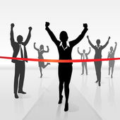 Businesswoman crossing finish — Stock Vector