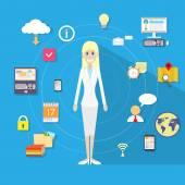 Businesswoman technology concept — Stock Vector