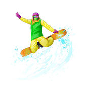 Snowboarder jumping — Stock Vector