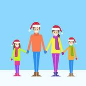 Christmas holiday happy family — Stock Vector