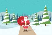 Santa Claus in winter forest — Stock Vector