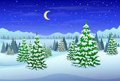 Winter forest landscape — Stock Vector