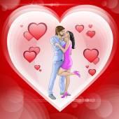 Couple kissing in heart — Stockvector